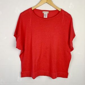 Coral Lightweight Knit Boxy Dolman Sleeve Top